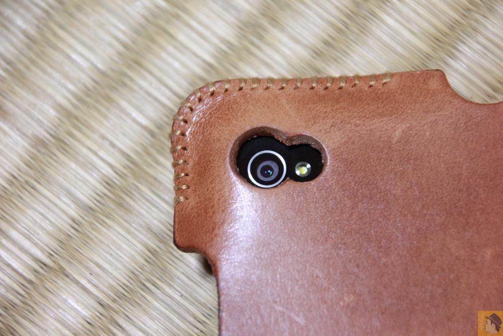 カメラ穴 - エイジングしたかのような色のabicase(アビケース)/ abicase cawa シンプルジャケット 栃木レザー 飴色 / iPhone 4S