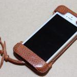 表面が特徴的な柄したabicase(アビケース)/ abicase cawa ウォレットジャケット 栃木レザー オイルバケッタブラウン / iPhone 5/5s