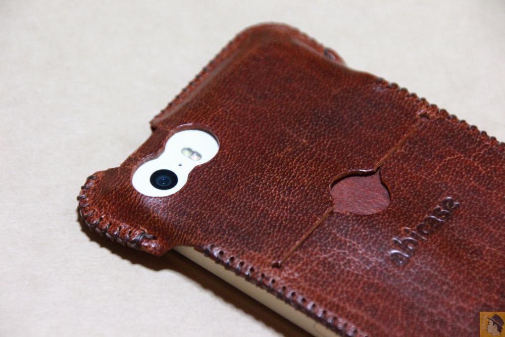 カメラ穴 - 珍しい鹿革を使ったabicase(アビケース)/ abicase cawa ウォレットジャケット 鹿革 / iPhone 5/5s /