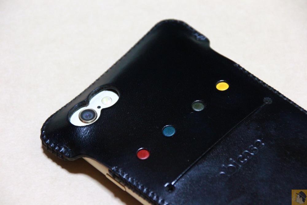 カメラ穴 - ドット柄が分かる人には分かるabicase(アビケース)/ abicase cawa ウォレットジャケット 栃木レザー ブラック / iPhone 6/6s
