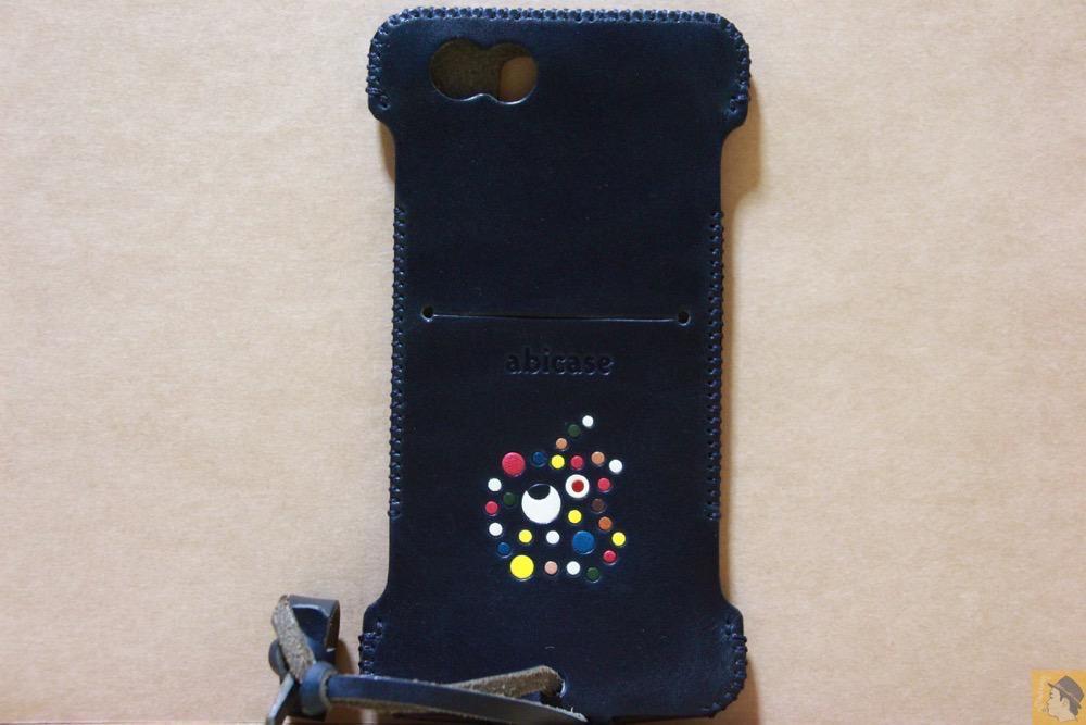 背面 - カラフルリンゴドット柄abicase(アビケース)/ abicase cawa ウォレットジャケット ネイビー / iPhone 6/6s