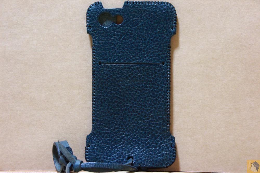 背面 - 指紋認証対応したオイルバケッタレザーのabicase(アビケース)/ abicase cawa ウォレットジャケット 栃木レザー オイルバケッタブルー / iPhone 5/5s