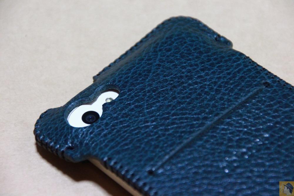 カメラ穴 - 指紋認証対応したオイルバケッタレザーのabicase(アビケース)/ abicase cawa ウォレットジャケット 栃木レザー オイルバケッタブルー / iPhone 5/5s