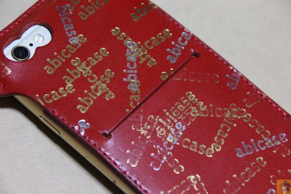 iPhoneに装着した背面 - abicase(アビケース) cawa ウォレットジャケット 栃木レザー 赤 / iPhone 6/6s / 初じめての赤でインパクトある背面のabicase
